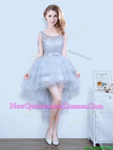 Top Selling Grey A-line Organza Scoop Sleeveless Lace and Ruffled Layers and Bowknot Mini Length Lace Up Court Dresses for Sweet 16