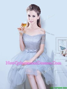 Flirting Off the Shoulder Grey Short Sleeves Asymmetrical Lace and Ruffles and Bowknot Lace Up Dama Dress