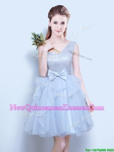 Decent Grey Dama Dress for Prom and For withLace and Ruffles and Bowknot One Shoulder Sleeveless Lace Up
