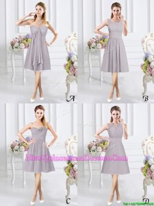 Pretty Grey Sleeveless Knee Length Lace and Ruching and Hand Made Flower Side Zipper Court Dresses for Sweet 16