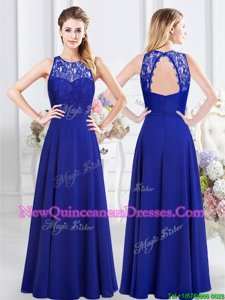 Comfortable Scoop Sleeveless Floor Length Lace Backless Vestidos de Damas with Royal Blue
