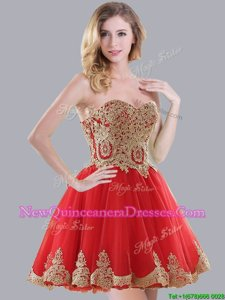 Discount Red Tulle Lace Up Quinceanera Dama Dress Sleeveless Mini Length Appliques