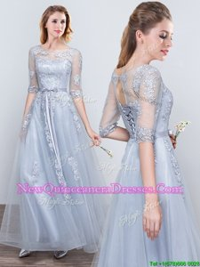 Edgy Scoop Short Sleeves Floor Length Grey Quinceanera Dama Dress Tulle Half Sleeves Spring and Summer and Fall and Winter Appliques and Belt