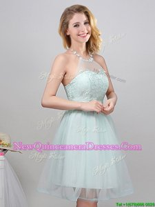Extravagant Halter Top Mini Length Apple Green Dama Dress Tulle Sleeveless Spring and Summer Lace and Appliques and Belt