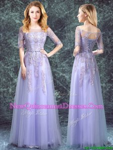 Simple Square Lavender Tulle Lace Up Quinceanera Dama Dress Half Sleeves Floor Length Appliques