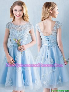 3531868d7e5  320.38  187.65  Glamorous Scoop Light Blue A-line Appliques and Bowknot Quinceanera  Dama Dress Lace Up Tulle