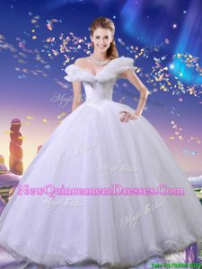 Fitting Cinderella Off The Shoulder Sleeveless Tulle Quinceanera Dress Beading and Bowknot Lace Up