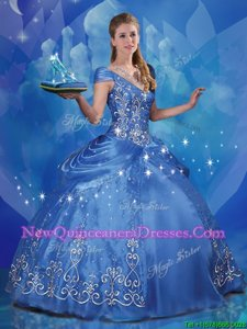 Nice Cinderella Blue Quinceanera Dress Sweet 16 and Quinceanera and For withBeading and Embroidery Off The Shoulder Cap Sleeves Lace Up