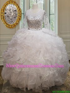 Comfortable Scoop Long Sleeves Beading and Ruffles Lace Up Ball Gown Prom Dress