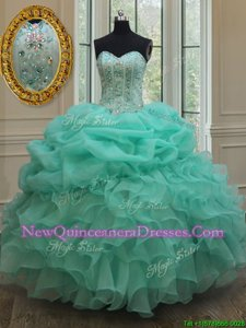 Discount Sleeveless Beading and Ruffles Lace Up Quinceanera Gown
