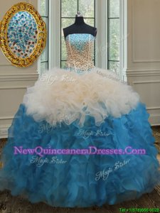 Affordable Sleeveless Organza Floor Length Lace Up Vestidos de Quinceanera inBaby Blue and Champagne withBeading and Ruffles