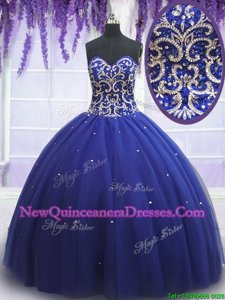 Extravagant Royal Blue Sweet 16 Dress Tulle Sleeveless Spring and Summer and Fall and Winter Beading and Sequins