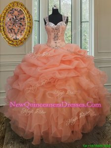 Great Pick Ups Straps Sleeveless Zipper Quinceanera Gown Orange Organza