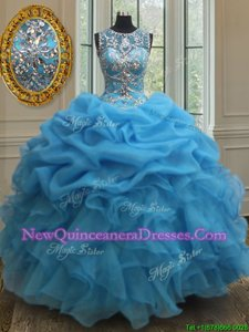 Super Scoop Baby Blue Organza Lace Up Sweet 16 Quinceanera Dress Sleeveless Floor Length Beading and Ruffles and Pick Ups