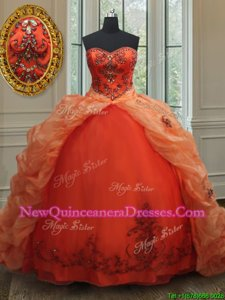 Pick Ups Orange Sleeveless Organza Brush Train Lace Up Sweet 16 Dresses for Military Ball and Sweet 16 and Quinceanera