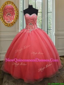 Best Selling Watermelon Red Sweetheart Neckline Beading Quinceanera Gown Sleeveless Lace Up