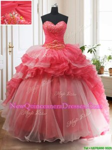 New Style Sleeveless Brush Train Beading and Ruffled Layers Lace Up Quinceanera Dresses