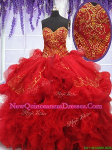 Fantastic With Train Ball Gowns Sleeveless Red Vestidos de Quinceanera Brush Train Lace Up