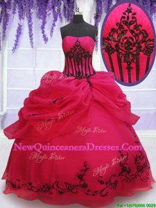 Flare Coral Red Sleeveless Floor Length Embroidery and Pick Ups Lace Up Quinceanera Dresses