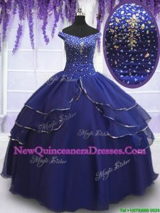 Traditional Royal Blue Lace Up Off The Shoulder Beading and Ruffled Layers and Sequins Quinceanera Dress Organza Sleeveless