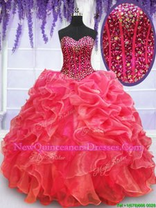 Comfortable Coral Red Organza Lace Up Quinceanera Dress Sleeveless Floor Length Beading and Ruffles