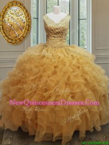 Customized V-neck Sleeveless Zipper Quinceanera Dress Gold Organza
