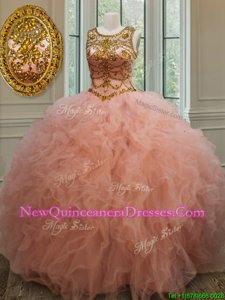 Luxurious Peach Scoop Neckline Beading and Ruffles 15 Quinceanera Dress Sleeveless Lace Up