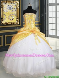 White and Yellow and Yellow And White Ball Gowns Beading and Pick Ups and Hand Made Flower Vestidos de Quinceanera Lace Up Organza and Taffeta Sleeveless Floor Length