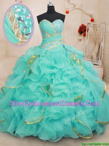 Sweetheart Sleeveless Quinceanera Gowns Floor Length Beading and Ruffles and Sequins Apple Green Organza