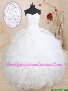 Luxurious White Lace Up 15 Quinceanera Dress Beading and Ruffles Sleeveless Floor Length
