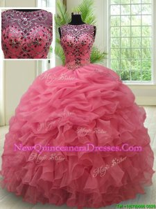 Attractive Watermelon Red Quinceanera Dress Military Ball and Sweet 16 and Quinceanera and For withBeading and Ruffles and Pick Ups Bateau Sleeveless Lace Up