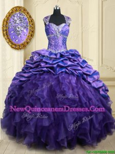 Adorable Pick Ups Straps Cap Sleeves Brush Train Lace Up 15th Birthday Dress Purple Organza and Taffeta