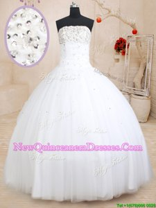 Charming Strapless Sleeveless Lace Up Quinceanera Dress White Tulle