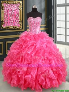 Exceptional Sweetheart Sleeveless Organza Quinceanera Dresses Beading and Ruffles and Sequins Lace Up