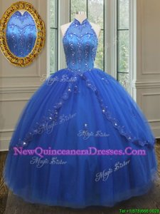 Top Selling Royal Blue Lace Up High-neck Beading and Appliques Quinceanera Gown Tulle Sleeveless