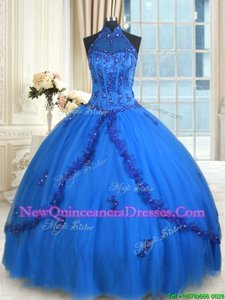 Adorable Halter Top Blue Sleeveless Floor Length Beading and Appliques Lace Up Quinceanera Dress