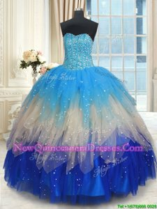 Graceful Multi-color Sleeveless Tulle Lace Up Sweet 16 Quinceanera Dress for Military Ball and Sweet 16 and Quinceanera
