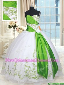 Glorious White and Green Quinceanera Gown Military Ball and Sweet 16 and Quinceanera and For withEmbroidery and Belt and Hand Made Flower Sweetheart Sleeveless Lace Up