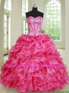 Amazing Hot Pink Sleeveless Beading and Ruffles Floor Length Quinceanera Gowns