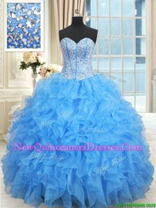 Clearance Baby Blue Ball Gowns Satin and Organza Sweetheart Sleeveless Beading and Ruffles and Ruffled Layers Floor Length Lace Up Quinceanera Dress