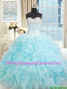 Gorgeous Light Blue Ball Gowns Organza Sweetheart Sleeveless Ruffles Floor Length Lace Up Quince Ball Gowns