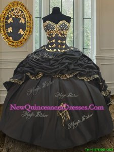 Sumptuous Black and Gold Ball Gowns Beading and Embroidery and Pick Ups 15th Birthday Dress Lace Up Taffeta Sleeveless