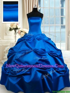 Ideal Royal Blue Ball Gowns Taffeta Strapless Sleeveless Pick Ups Floor Length Lace Up Sweet 16 Dresses