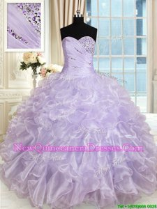 Fine Sweetheart Sleeveless Lace Up Ball Gown Prom Dress Lavender Organza