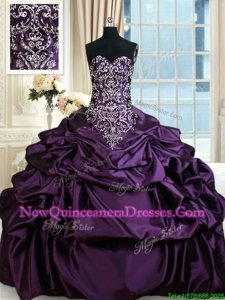 Cheap Purple Sweetheart Lace Up Beading and Embroidery and Pick Ups 15 Quinceanera Dress Sleeveless