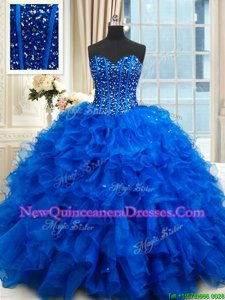 Customized Royal Blue Sleeveless Beading and Ruffles Floor Length Quinceanera Gown