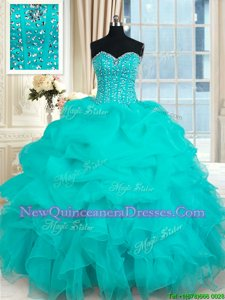 Perfect Sleeveless Beading and Ruffles and Pick Ups Lace Up Quinceanera Gowns