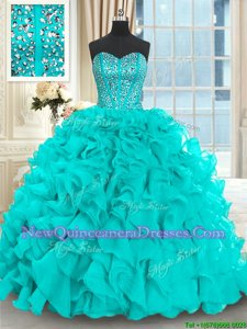 Lovely Brush Train Ball Gowns Quinceanera Dress Aqua Blue Sweetheart Organza Sleeveless With Train Lace Up