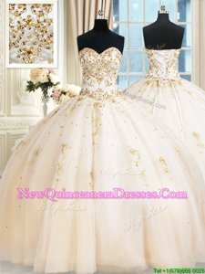 Shining Champagne Sweetheart Neckline Beading Sweet 16 Dress Sleeveless Lace Up