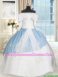 Custom Made Off the Shoulder Long Sleeves Floor Length Lace and Bowknot Lace Up Quinceanera Gowns with White and Light Blue